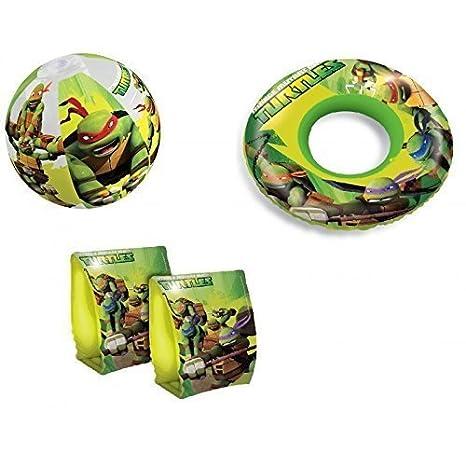 Inflable Bola de agua / Bola de playa, Flotador y Manguitos con Tortugas Ninja: Amazon.es: Juguetes y juegos