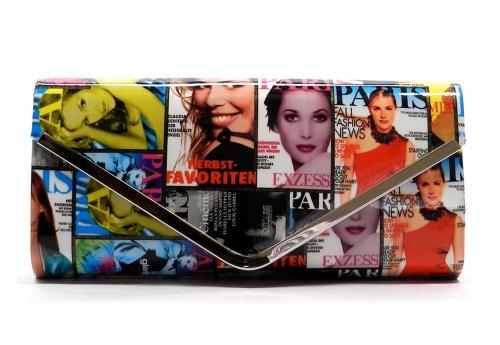 StylesiLove Magazine Cover Patchwork Envelope Evening Clutch Bag (White/Multi)