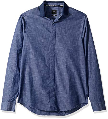 (A|X Armani Exchange Men's Classic Button Down Down, slub Navy, XXL)