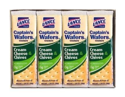 Lance Captain's Wafers Crackers Cream Cheese & Chives - 3 Boxes of 8 Individual Packs by Lance (Cheese Vision)