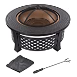 Fire Pit Set, Wood Burning Pit - Includes Spark Screen and Log Poker - Great for Outdoor and Patio, 32' Round Metal Firepit by Pure Garden