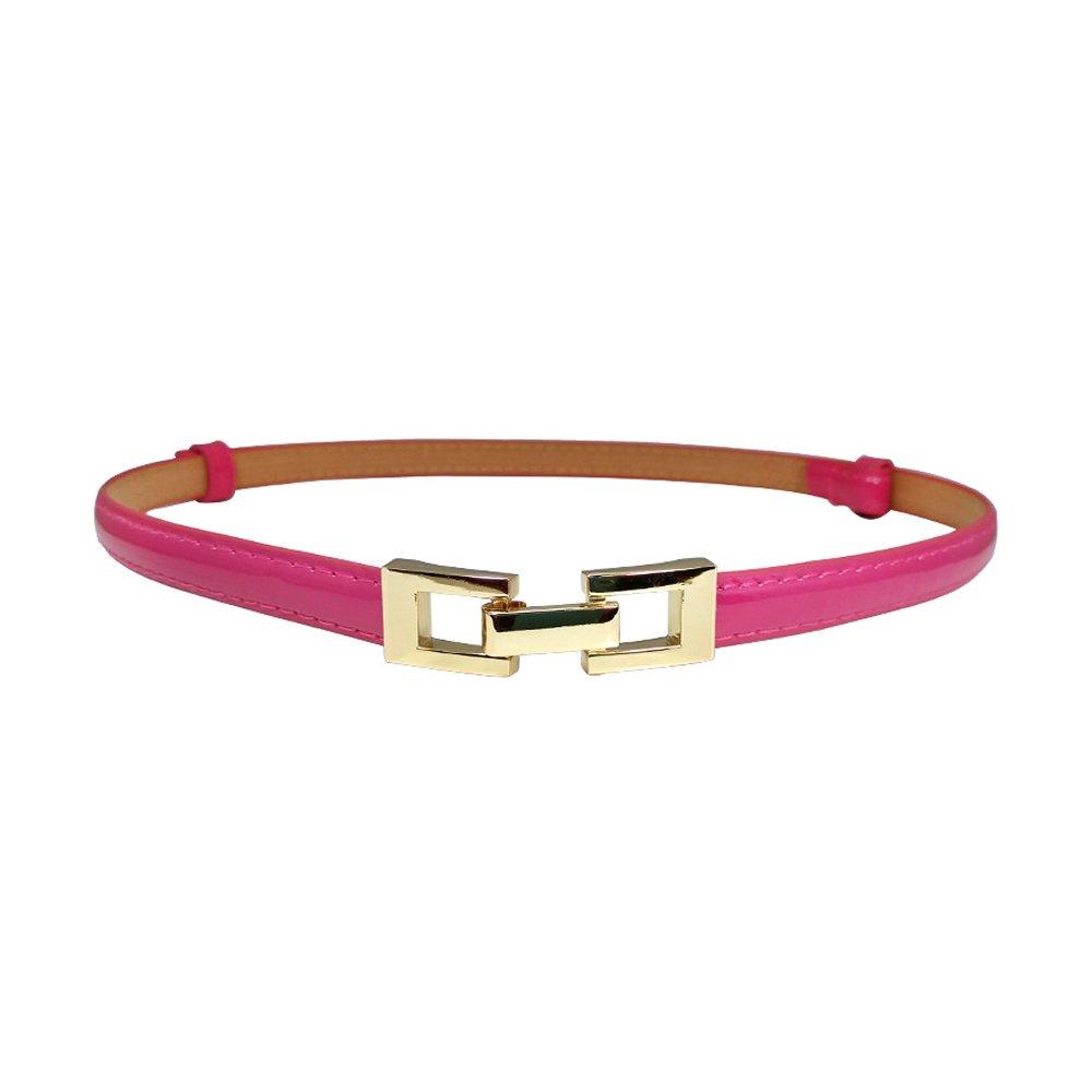 Ya Jin Leather Skinny Women Belt Thin Waist Belts for Dresses with Interlocking Buckle