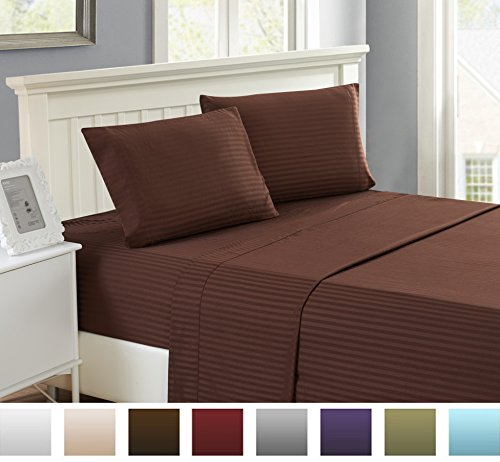4 Piece: Lux Decor Collection Full Bed Sheet Set - HIGHEST Egyptian QUALITY Microfiber 1800 Series Bedding -Wrinkle, Fade, Stain Resistant - Hypoallergenic - Bed Sheets set (Full, Brown)