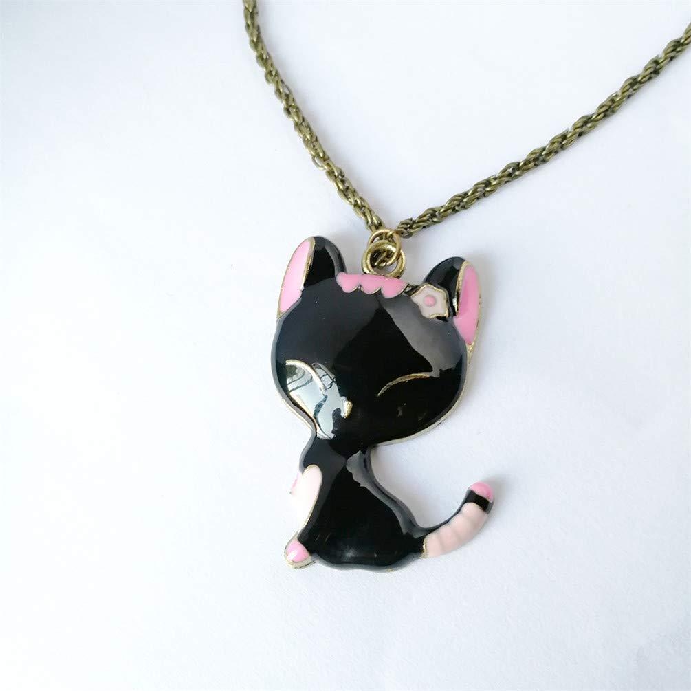 KYMLL Retro Cat Necklace Cute Smile Cat Pendant Necklace Lucky Cat Pendant Long Sweater Chain
