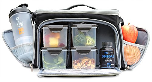 Ultimate Meal Prep Bag by Fitness Mac - Bundle Includes 4 Portion Control Containers, a Twist n' Lock Protein Shaker Cup with Vitamin & Protein Storage, and 3 Gel Packs (Black/Grey) (Vitamin Mixer compare prices)