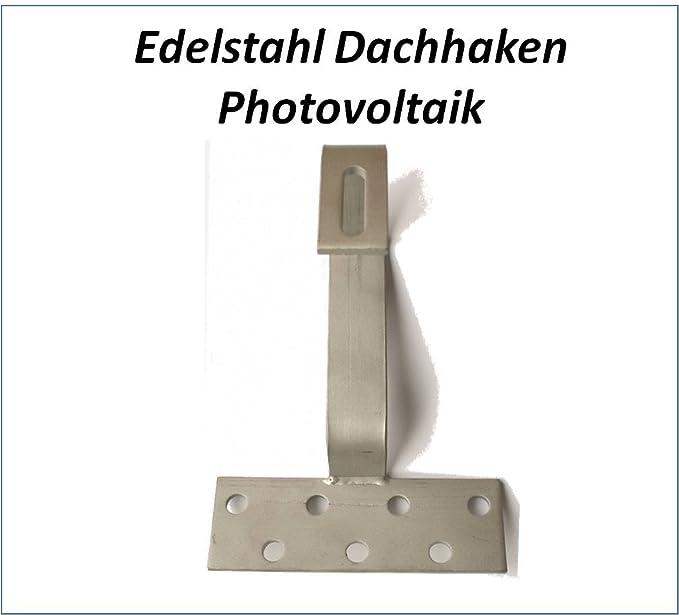 Grundplatte 140x56mm Edelstahl 1.4016 PROFINESS Dachhaken f/ür Photovoltaik f/ür Frankfurter Pfanne Haken 30x5mm Edelstahl 1.4301 Version 3fach verstellbar z.B