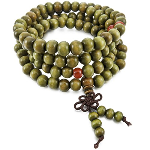 INBLUE Men,Women's 8mm Wood Bracelet Link Wrist Necklace Chain Tibetan Buddhist Green Sandalwood Bead Prayer Buddha Mala Chinese knot Elastic - Tibetan Buddhist Green