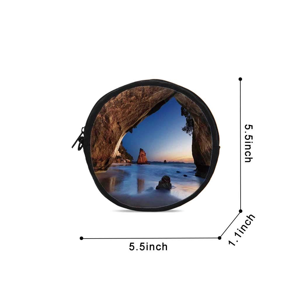 Natural Cave Decorations Durable Round Coin Purse,Hole in the Majestic Rock by