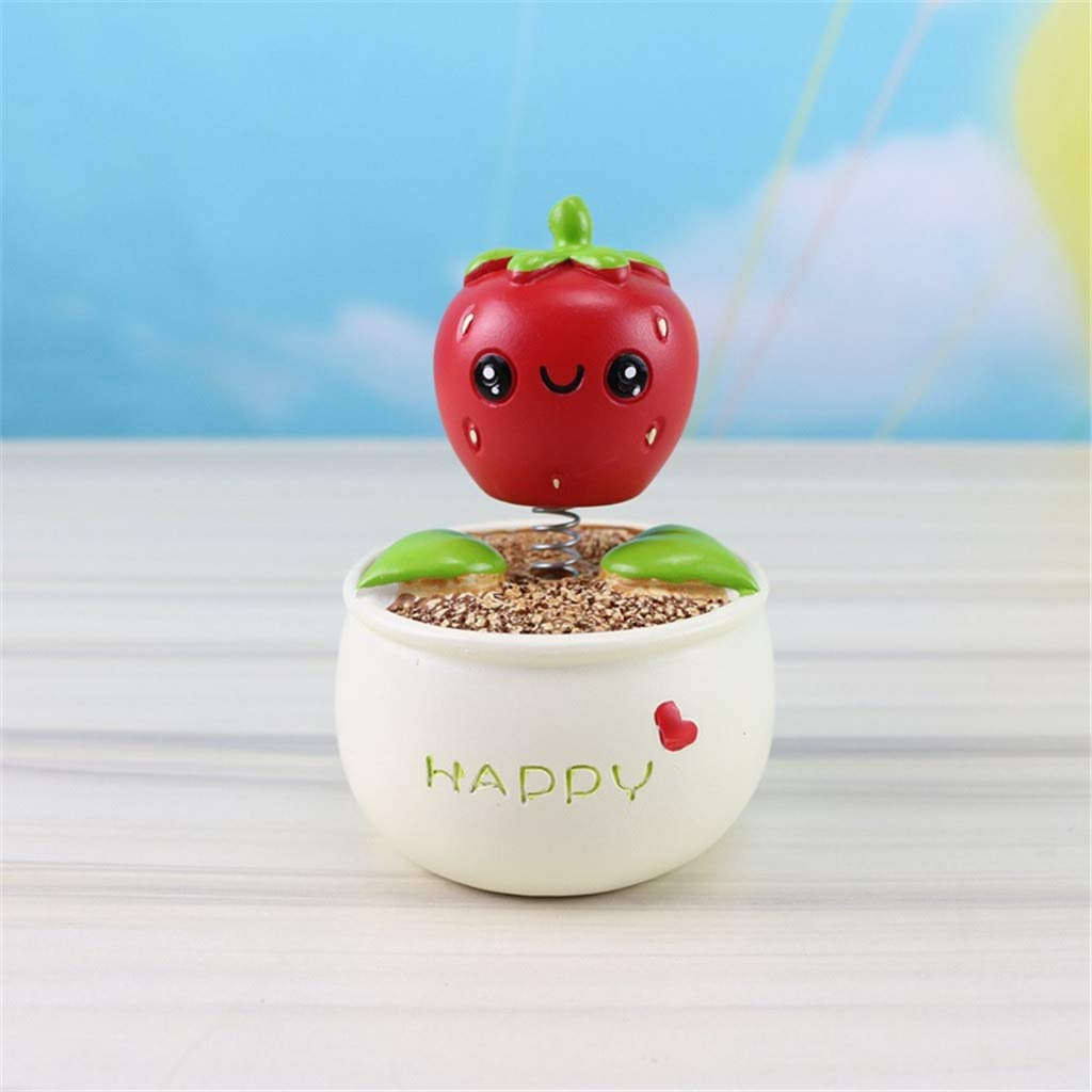 NszzJixo9 Fashion Flower Pot Shaking Head Decor Creative Wood Crafts Gifts Birthday Gift Car Ornament Holidays Party (red)