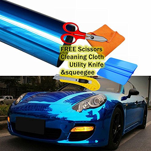 Chrome Mirror Vinyl Film Wrap Sticker Decal Stretchable Reflective + Free Cutter, Scissors & Squeegee (1FTX5FT / 12
