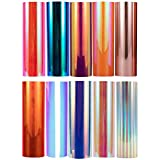 "Holographic Opal Vinyl Chrome Vinyl Sheets 12""x12"" Permanent Craft Adhesive Vinyl Bundle 10-Pack"