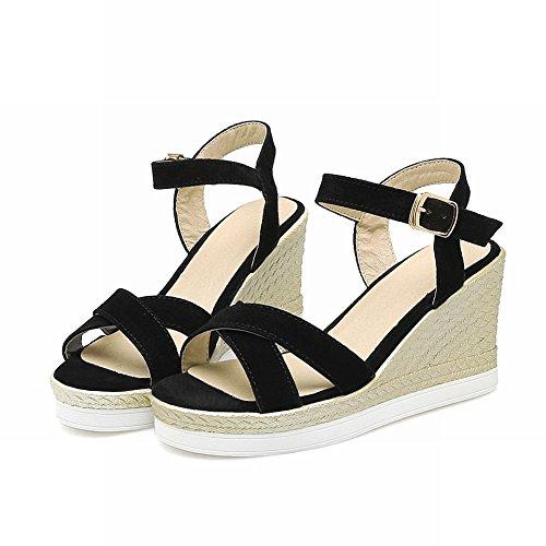 Carolbar Vrouwen Platform Gesp Mode Zomer Eenvoudige Sleehakken Sandalen Zwart