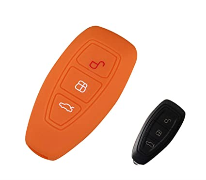 Happyit Silicona Control Remoto llave Cubierta Caso Llavero para Ford Focus MK3 MK4 escape Kuga ecosport Nuevo Fiesta (Naranja)