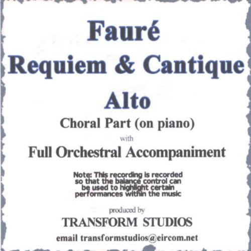 Fauré Requiem V. Agnus Dei Et Lux Aeterna: Alto Choral Part (On Piano With Orch - Orch Parts