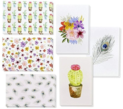 (48 Pack All Occasion Assorted Blank Note Cards Greeting Cards Bulk Box Set - 6 Watercolor Designs, Cactus Cacti Floral Flower Peacock Feathers - Notecards with Envelopes Included 4 x 6 Inches)