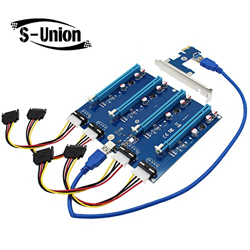 S-Union New PCI-E X1 to 4PCI-E X16 Expansion Kit, 1 to 4 Port PCI Express Switch Multiplier HUB Riser Card for BTC Miner Ethereum Mining ETH