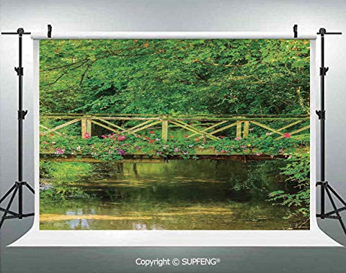 Photo Backdrop Small Bridge Decorated with Cute Flowers Over Clear Stream in Summer Garden Decorative 3D Backdrops for Interior Decoration Photo Studio -