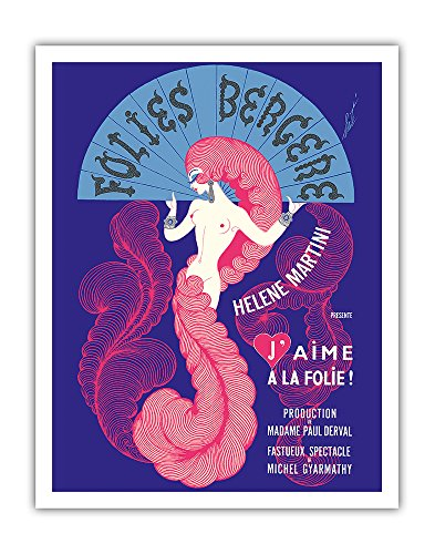 """Folies Bergère (Cabaret Music Hall) - Paris, France - Hélène Martini, The Iron Lady presents """"I Am Madly in Love!"""" - Vintage Theater Poster by Erté c.1974 - Fine Art Print - 11in x 14in (Globe Theater Poster)"""