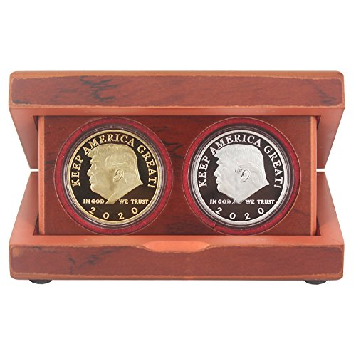 President Donald Trump 2020 Keep America Great Challenge Coin Wooden Storage and Display Case, Laser Engraving Gold Coloring, with Gold and Silver Coin for Commemorative Collectors