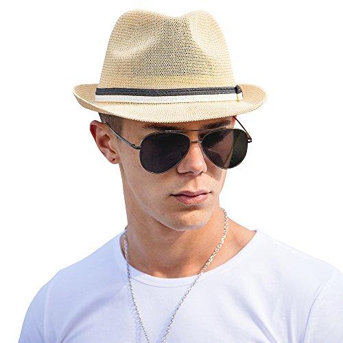 VEC Straw Hat Classic Short Brim Miami Beach Sun Hat Outdoor Cap Khaki by VEC