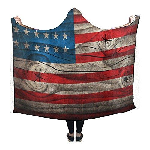 InterestPrint Usa Flag Hooded Blanket Pilling Polar Fleece H