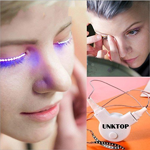LED Eyelashes UNKTOP Waterproof LED Light F. Lashes Luminous Shining Charming Eyelid Tape for Party Bar NightClub Concerts Birthday Gift Halloween-White