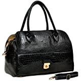 ALECIA Designer Inspired Black Crocodile Textured Turn-lock Decor PU Leather Double Handle Doctor Style Bowler Office Tote Satchel Handbag Purse Convertible Shoulder Bag, Bags Central