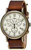 Timex Men's TW2P85300 Weekender Chrono Antiqued Brass/Brown Leather Slip-Thru Strap Watch