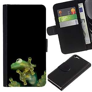 Be Good Phone Accessory // Caso del tirón Billetera de Cuero Titular de la tarjeta Carcasa Funda de Protección para Apple Iphone 6 4.7 // Cute Tiny Jungle Frog