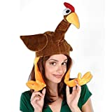 Pack of 6 Brown Plush Gobbler Hat with Feet Costume Party Accessories