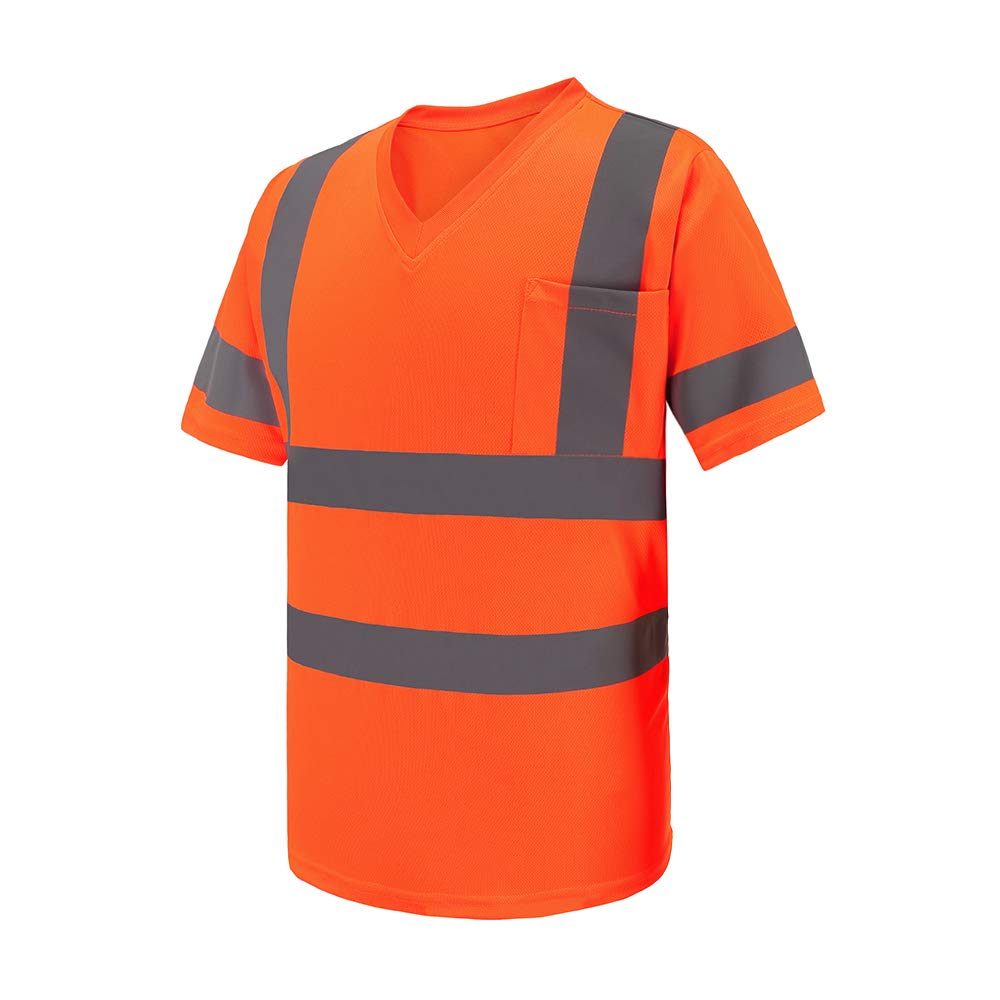 AYKRM Hi Vis T Shirt ANSI Class 3 Reflective Safety Lime Orange Short Long Sleeve High Visibility V Neck Shirt