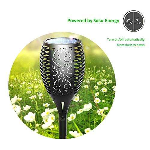 Xtozon Solar Torch Lights Upgraded, Dancing Flames Torch Solar Lamp, 96 LED Flame Effect Saving Lamp, Waterproof Outdoor Pathway Decoration Solar Security Light Auto On/Off from Dusk to Dawn - 4 pack by Xtozon (Image #3)