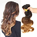 Beautyplus Hair Brazilian Ombre Layered Wavy Body Wave Hair Weft 100% Real Remy Human Virgin Hair Extensions(Natural Black To Medium Brown To Caramel Blonde) 3 Bundles for Beauty(12 12 12 Inches)