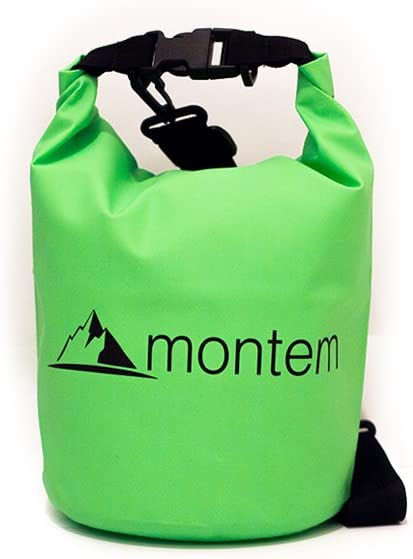 Montem Premium Waterproof Bag/Roll Top Dry Bag - Perfect for Kayaking/Boating/Canoeing/Fishing/Rafting/Swimming/Camping/Snowboarding (Green, 5L)