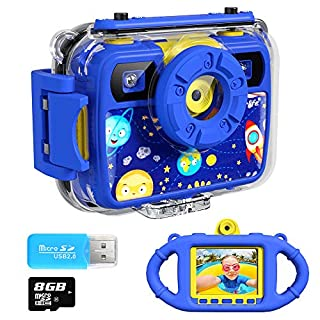 Ourlife Kids Camera, Selfie Waterproof Action Child Cameras,1080P 8MP 2.4 Inch Large Screen with 8GB SD Card for Children Toddler of Age 3,4,5,6+, Silicone Handle, Fill Light, 2019 Upgraded