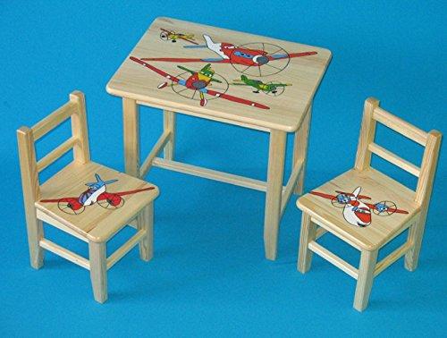 Set en bois table avec 2 chaises pour chambre d'enfants. M21. Excellente idée cadeau.Complet en pin avec dessin à la main.