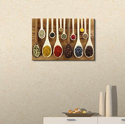 Colorful Spices in Wooden Spoons Wall Decor