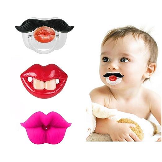 Amazon.com: 3 chupetes divertidos con dientes y bigote ...