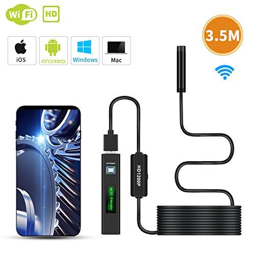 WiFi Endoscope, Lemebo Caméra Endoscopique d'Inspection Caméra Etanche avec 2.0 mégapixels 1200P HD Câble Semi Rigide Snake compatible Android & IOS Smartphone, Mas, Windows