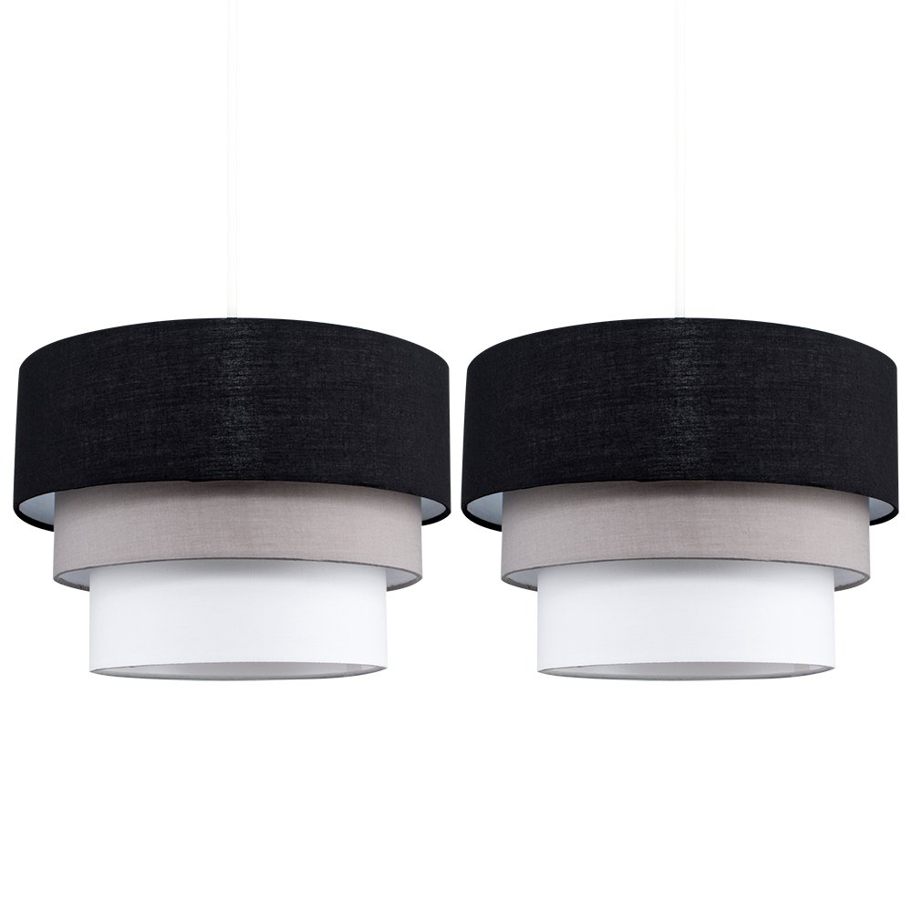 Pair of - Round Modern 3 Tier Black, Grey and White Fabric Ceiling Designer Pendant Lamp Light Shades MiniSun