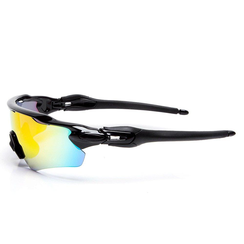 Cuzaekii 5 Lentille Polarisé Cyclisme Lunettes UV400 Extérieur Sports lunettes de soleil pour Hommes Femmes (Noir) 49TACy
