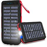Power Bank 25000mAh Huge Capacity Solar Charger IP65 Waterproof Potable Charger 3 Output Ports Battery Pack LED Flashlight & SOS Warning Lamp for Outdoor Activities, Smartphone,Tablet and More