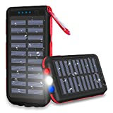 Power Bank 25000mAh Huge Capacity Solar Portable Charger Water-Resistant 3 Output Ports Battery Pack LED Flashlight SOS Warning Lamp For Outdoor Activities, Smartphone,Tablet and More