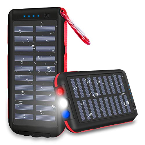 - Power Bank 25000mAh Huge Capacity Solar Portable Charger Water-Resistant 3 Output Ports Battery Pack LED Flashlight SOS Warning Lamp For Outdoor Activities, Smartphone,Tablet and More