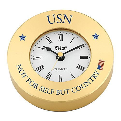 Weems & Plath Brass Clock Chart Weight #NV610500 0710 with USN - Not for Self, But Country (Text Printed in Navy Blue; American Flag Printed in Full Color)