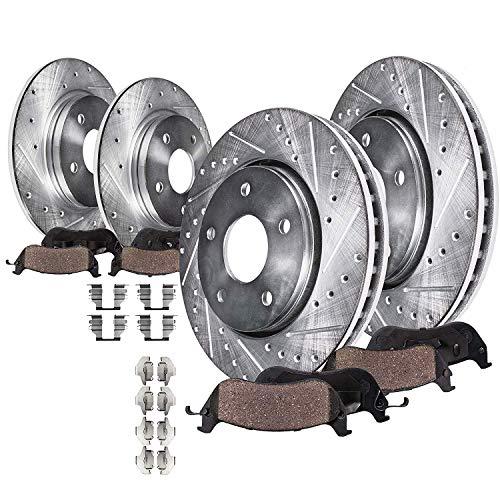 Detroit Axle - All (4) Front & Rear Drilled & Slotted Brake Rotors w/Ceramic Pads w/Hardware for 2007-2008 Hyundai Elantra - [2009-2010 Elantra Sedan]