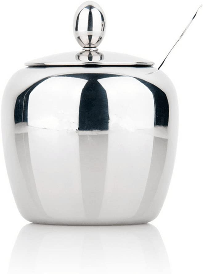 Sugar Bowl, Sugar Dispenser, Seasoning Bowl, Spices Bowl, Stainless Steel Sugar Bowl with Lid and Sugar Spoon, Apple Shape (280ML)