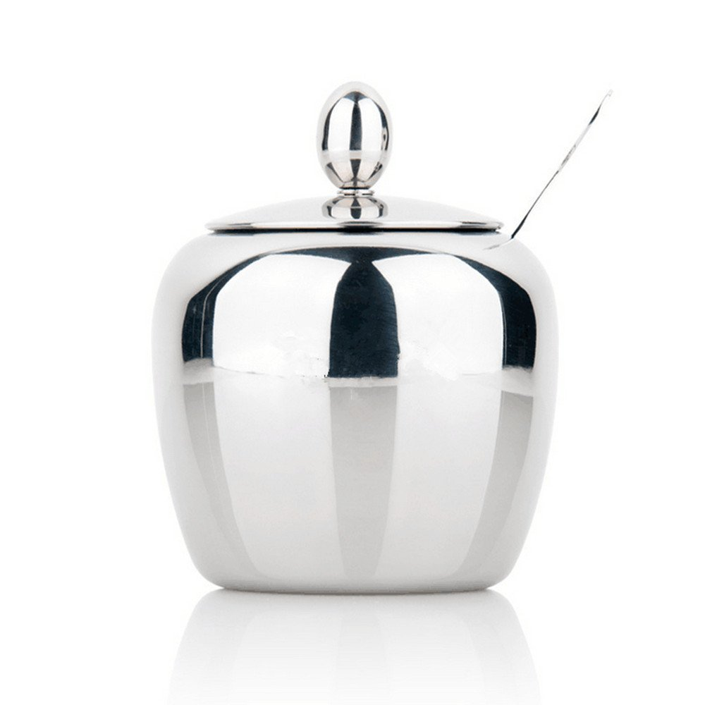 Sugar Bowl, Sugar Dispenser, Seasoning Bowl, Spices Bowl, Stainless Steel Sugar Bowl with Lid and Sugar Spoon, Apple Shape (300 Milliliter) Sissiangle