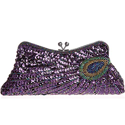 Luxury Chain Pattern Clutch Handbag Vintage Party Mini Sequins Women Purple Peacock Evening Wedding Beaded Bags wSSvF87q