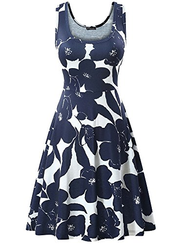 FENSACE Women's Summer Casual Fit and Flare Nave Floral Dress,18034-2,Medium ()